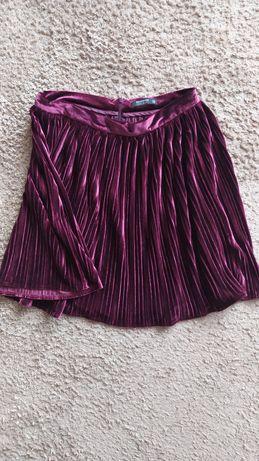 Welurowa spodnica plisowana rozowa aksamitna nowa reserved do kolan