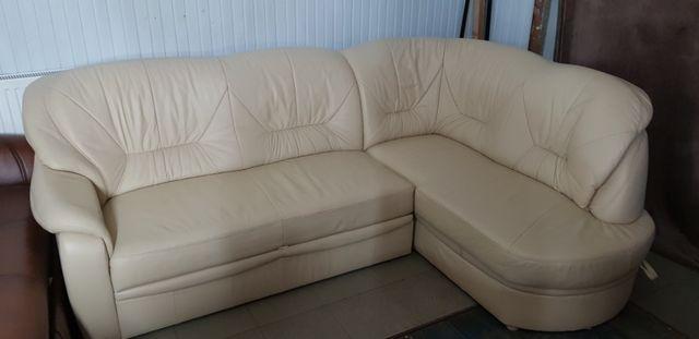 Narożnik kanapa sofa fotel skórzany skóra komplet jak nowy