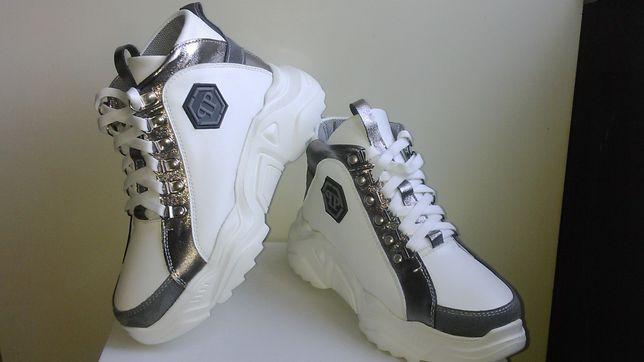 Женские кеды/кроссовки высокие белые 37 размер