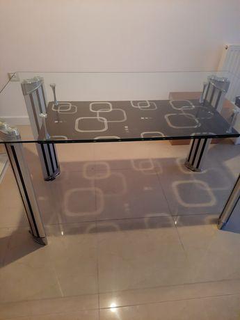 Stół szklany z efektowną półką 140x80x75