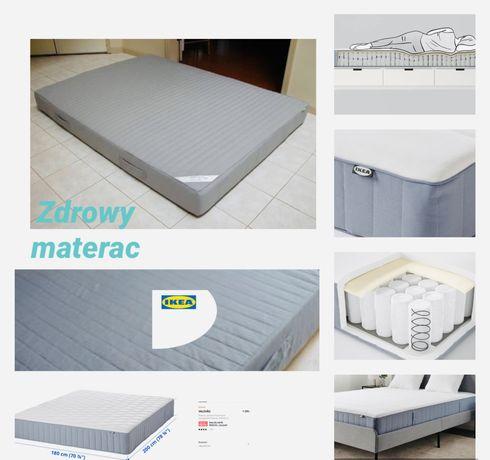 180x200•IKEA•Materac•Zdrowy•Duży•Sprężyny kieszonkowe+Lateks•Jak nowy•