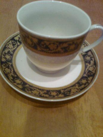 Чашка с блюдцем для экспрессо, на черном - золотые узоры,JAPAN