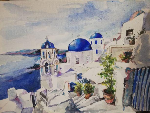 Akwarela 300 x 420 mm, Santorini