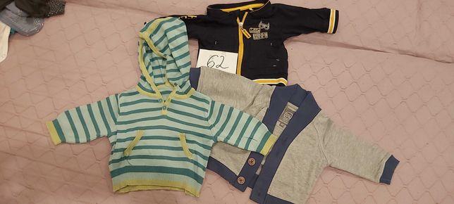 Zestaw 3 bluz ciuchów dla dziecka chłopca rozmiar 62 - sztuk 3 !!
