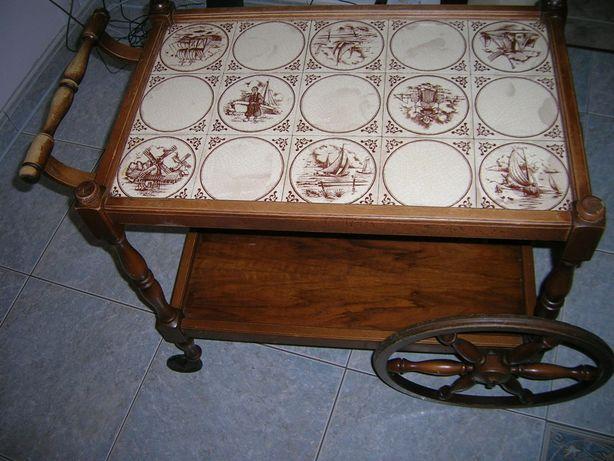 Barek drewniany na kółkach płytki przestawny luksusowy