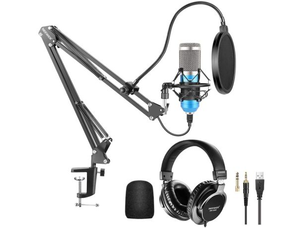Microfone condensador Neewer + auriculares 192KHz / 24Bit