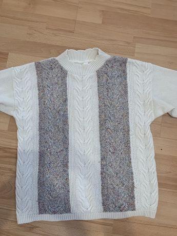 Sweter sweterek biały NOWY warkocz warkoczem 44 XXL 46 3XL