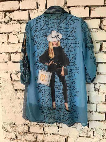 Рубашка-туника джинсовая (двойка)
