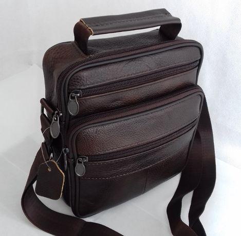 Кожаная мужская сумка-барсетка на плечо