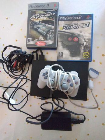 Ps2 da Sony com jogos e comando