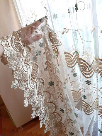 Шикарная тюль с вышивкой, готовое изделие
