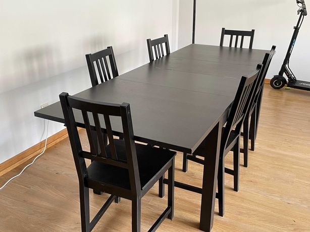 Mesa de jantar e 6 cadeiras IKEA para 6 pessoas extensível