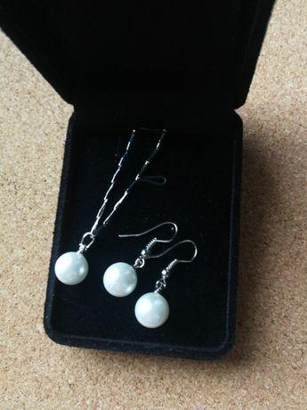 Zestaw biżuterii nowy z białą perłą
