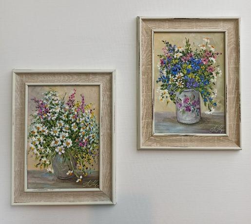 картина маслом натюрморт цветы подарок 2шт.