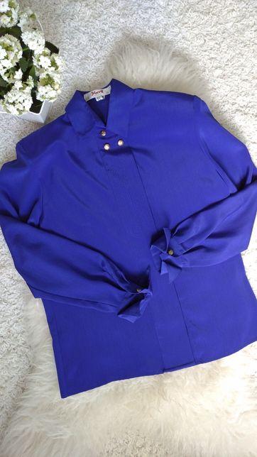 Nowa koszula kobaltowa bluzka vintage Yarell lata 80