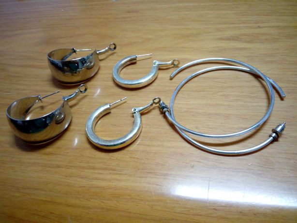 Conjunto de argolas de prata, como novas