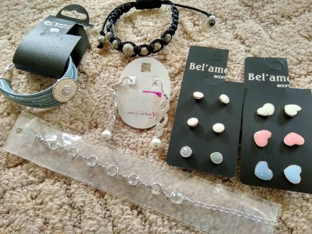 NOWY zestaw biżuterii - 7 par kolczyki 3 bransoletki bransoletka ORSAY