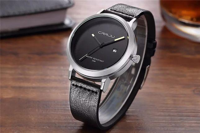 Nowy zegarek męski srebrny czarny skórzany pasek Z022 !