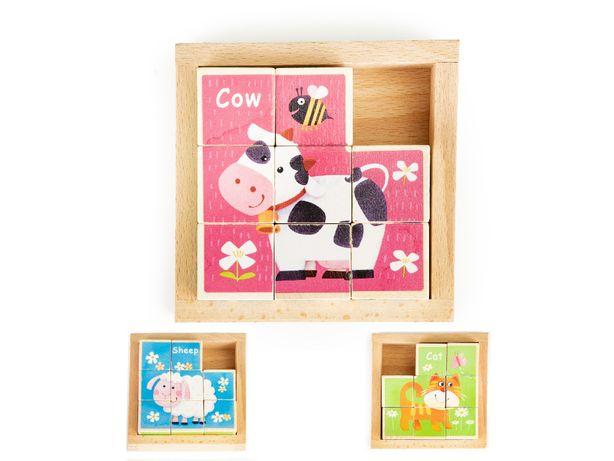 Drewniane klocki puzzle edukacyjne układanka zoo zabawka # MA443