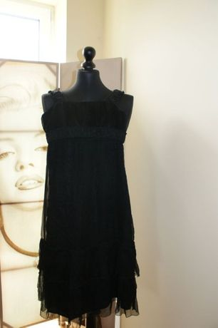 Sukienka ZARA czarna, jedwab, XS-34, elegancka