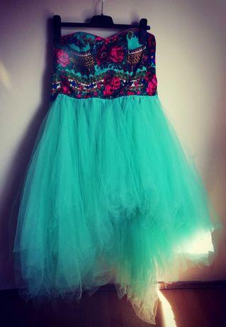 Sukienka LOU tiulowa miętowa lulu design M folkowa róże lou