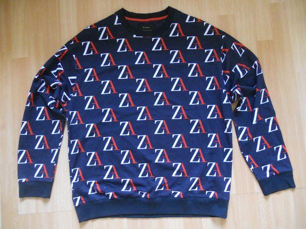 bluza męska ZARA, sweter XL, w klatce 61 cm, granatowa, stan idealny