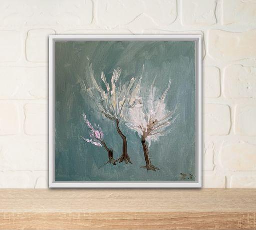 Картина Цветущий сад, цветы, деревья, весна, декор, холст, интерьер.