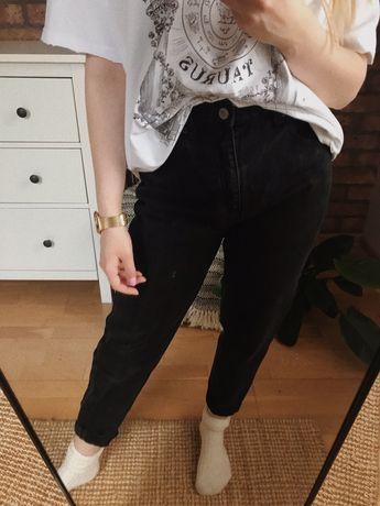 Mom jeans pull&bear 36 38 wysoki stan czarne spodnie high waist