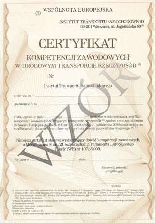 Certyfikat Kompetencji Zawodowych Licencja na przewóz CKZ Rzeczy /Osób