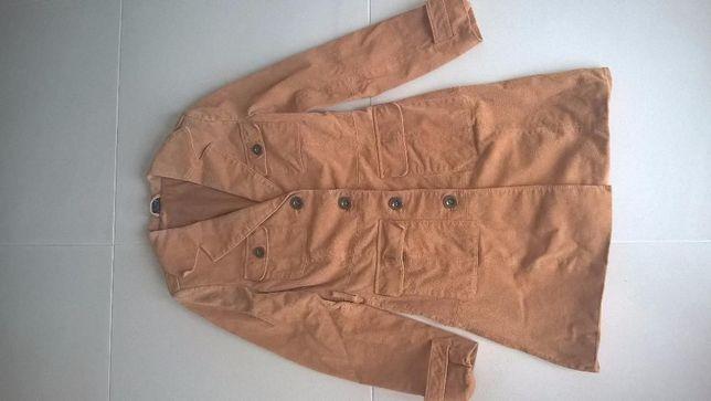 Płaszcz,płaszczyk skórzany damski brąz roz.34
