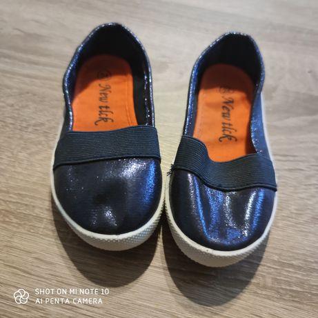 Baleriny 24  15cm  buty brokatowe granatowe