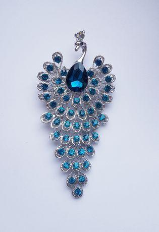 Paw niebieski cyrkonie srebrny ozdobny broszka