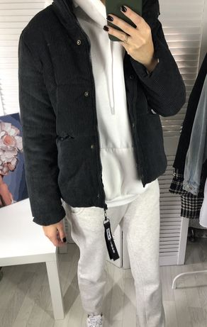 Куртка удлененная пуховик замш