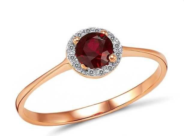Женское золотое кольцо с бриллиантами и рубином (Размер 17,5)