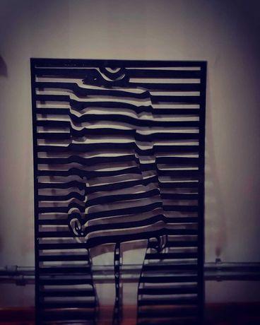 Картина из металла (черный мат). Панно на стену.
