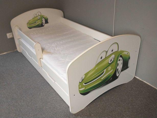 Łóżko dziecięce białe 160x80 samochodzik cars