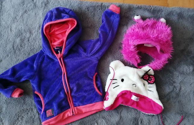 Ciepła bluza i czapki dla dziewczynki 98-104