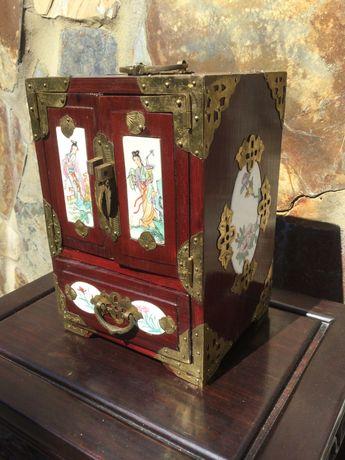 Contador Guarda Jóias Chinês madeira Painéis porcelana Chinesa 23,5 cm