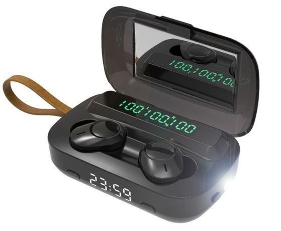 Słuchawki Bezprzewodowe douszne z zegarem latarką Bluetooth Powerbank