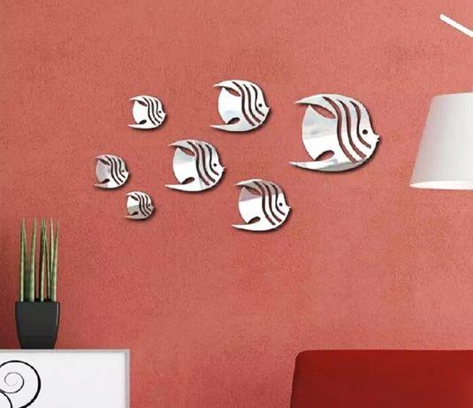 Декоративные 3D наклейки на стену. Зеркальные. Рыбки. Комплект 8 шт
