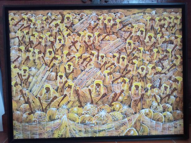 Vendo quadro Africano em tons amarelo e branco