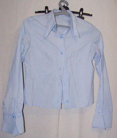 Рубашка девичья школьная голубая. Хлопок.