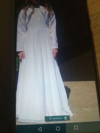 Piękna sukienka do komuni świętej rozmiar 128na szczupła dziewczynkę