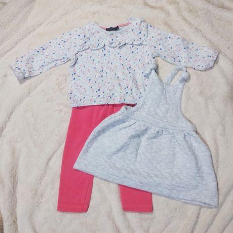 Комплект (свитшот, комбинезон-юбка, штаны) теплые, 92 см, 2 года
