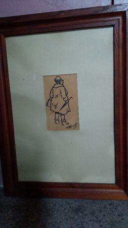 Obraz karykatura kobiety , sygn. K. Kossak , grafika , papier ,