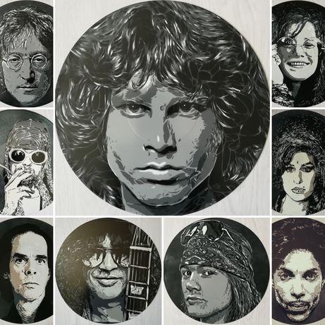 Pinturas originais em disco de vinil Jim Morriso, John Lennon, Slash..
