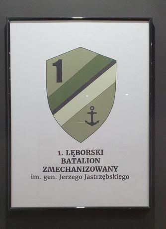 Obraz Herb 1 Batalion Zmechanizowany w Lęborku w ramce 32x41 cm