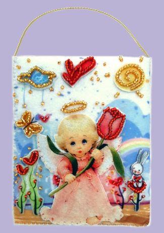 Подарочный конвертик из фетра со схемой для вышивки бисером (набор)