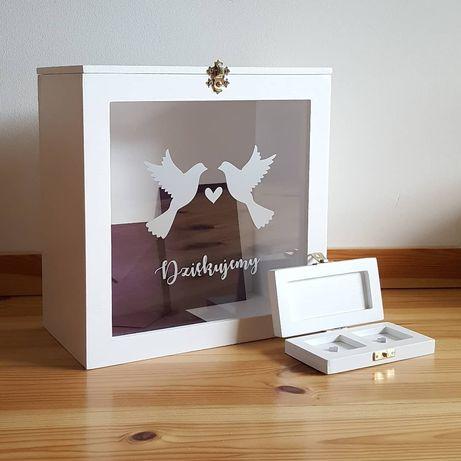 Personalizowane pudełko na koperty+pudełko na obrączki 15 kolorów