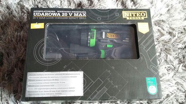 Wkretarko wiertarka akumulatorowa udarowa 20v max nowa walizka